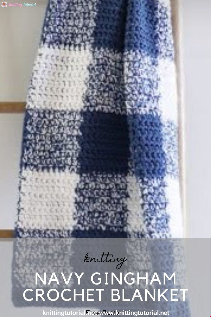 Navy Gingham Crochet Blanket