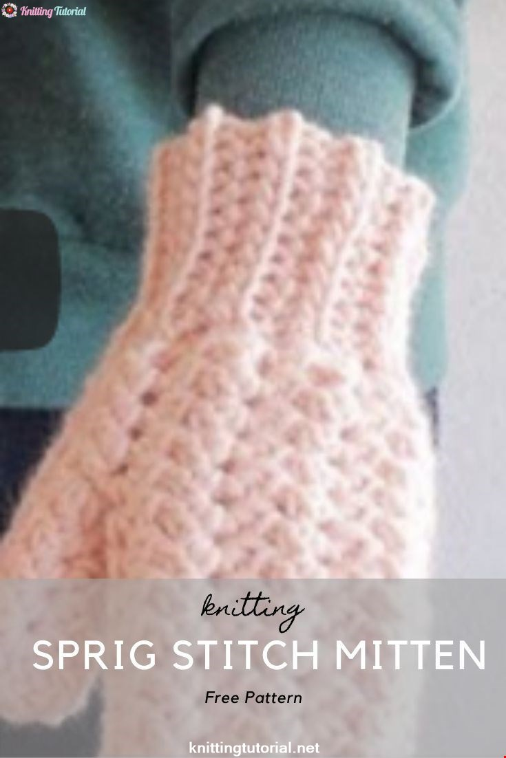 The base row of the sprig stitch mitten