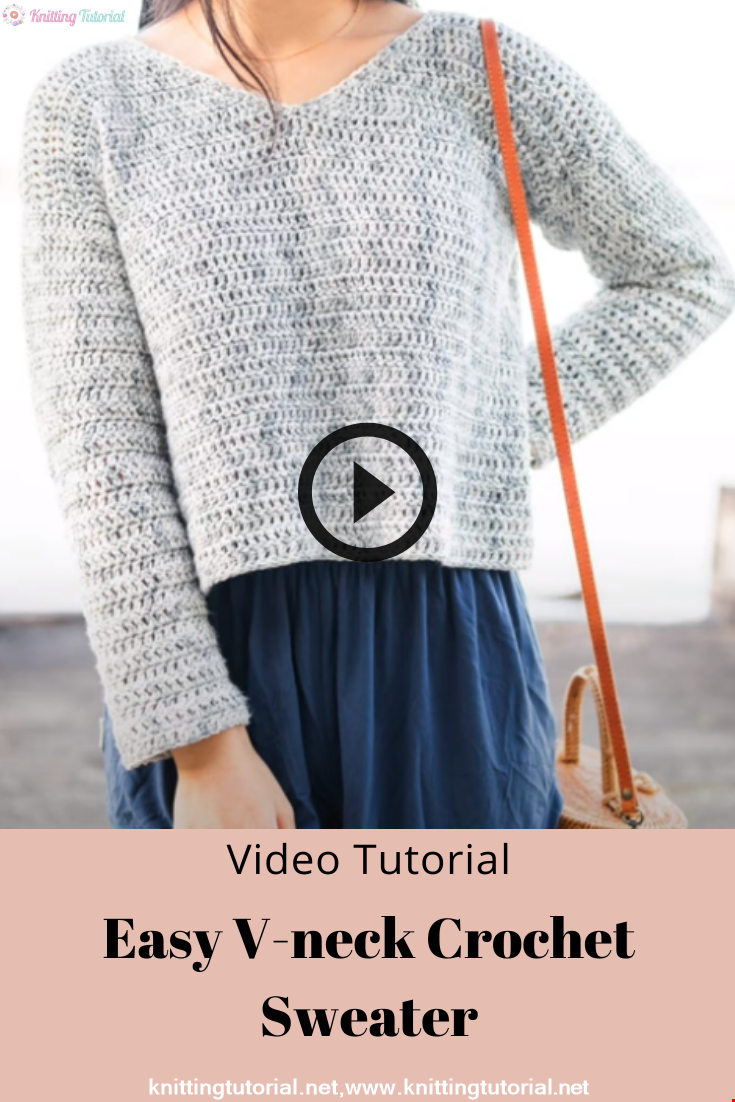 Easy V-neck Crochet Sweater