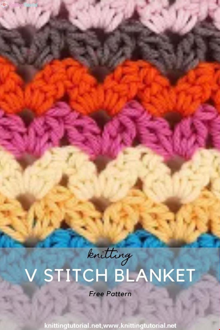 Cluster V Stitch Crochet Blanket